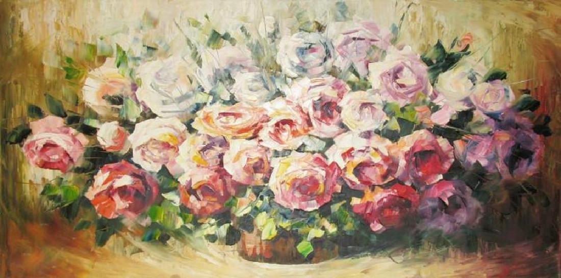 Colorful Rose Bouquet Original Painting 20X40 - 2