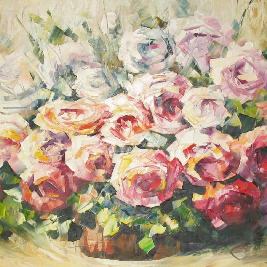 Colorful Rose Bouquet Original Painting 20X40 - 3