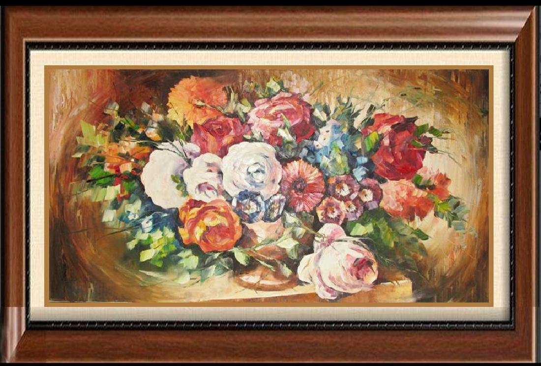 Textured Floral On Canvas Original Signed Painting
