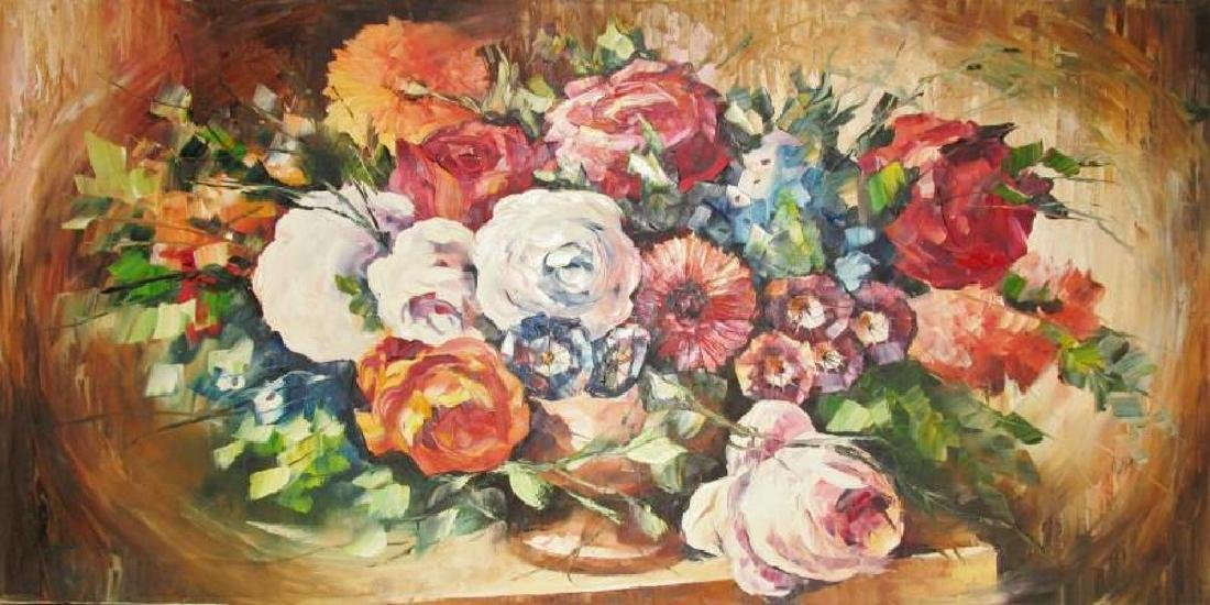 Textured Floral On Canvas Original Signed Painting - 2