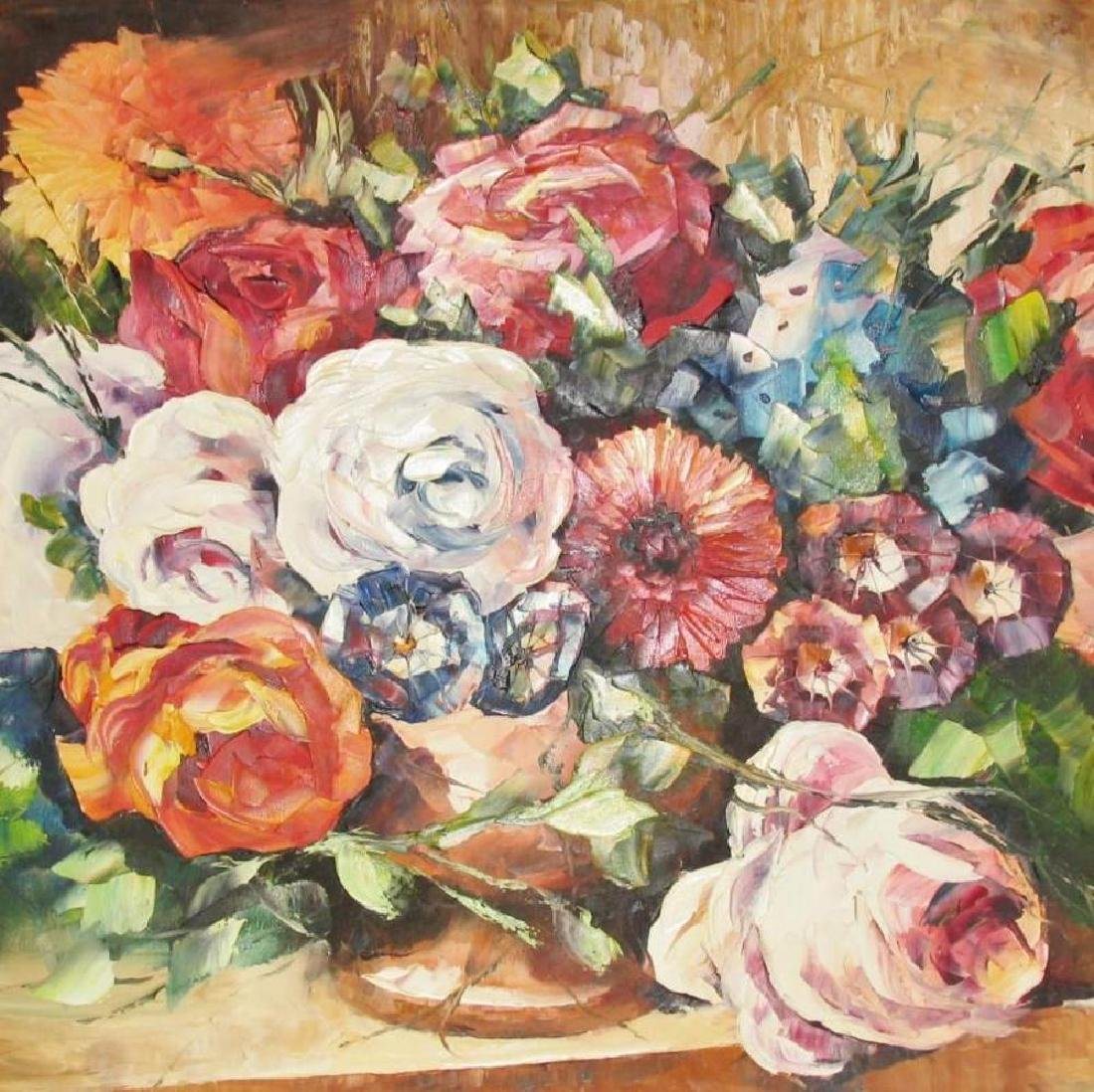 Textured Floral On Canvas Original Signed Painting - 3