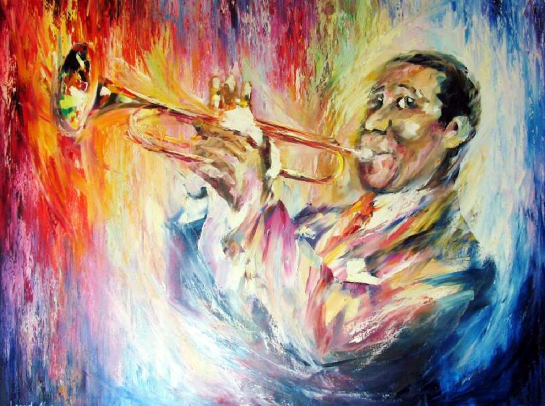 Louis Armstrong 30X40 Original Painting Canvas Sale - 2
