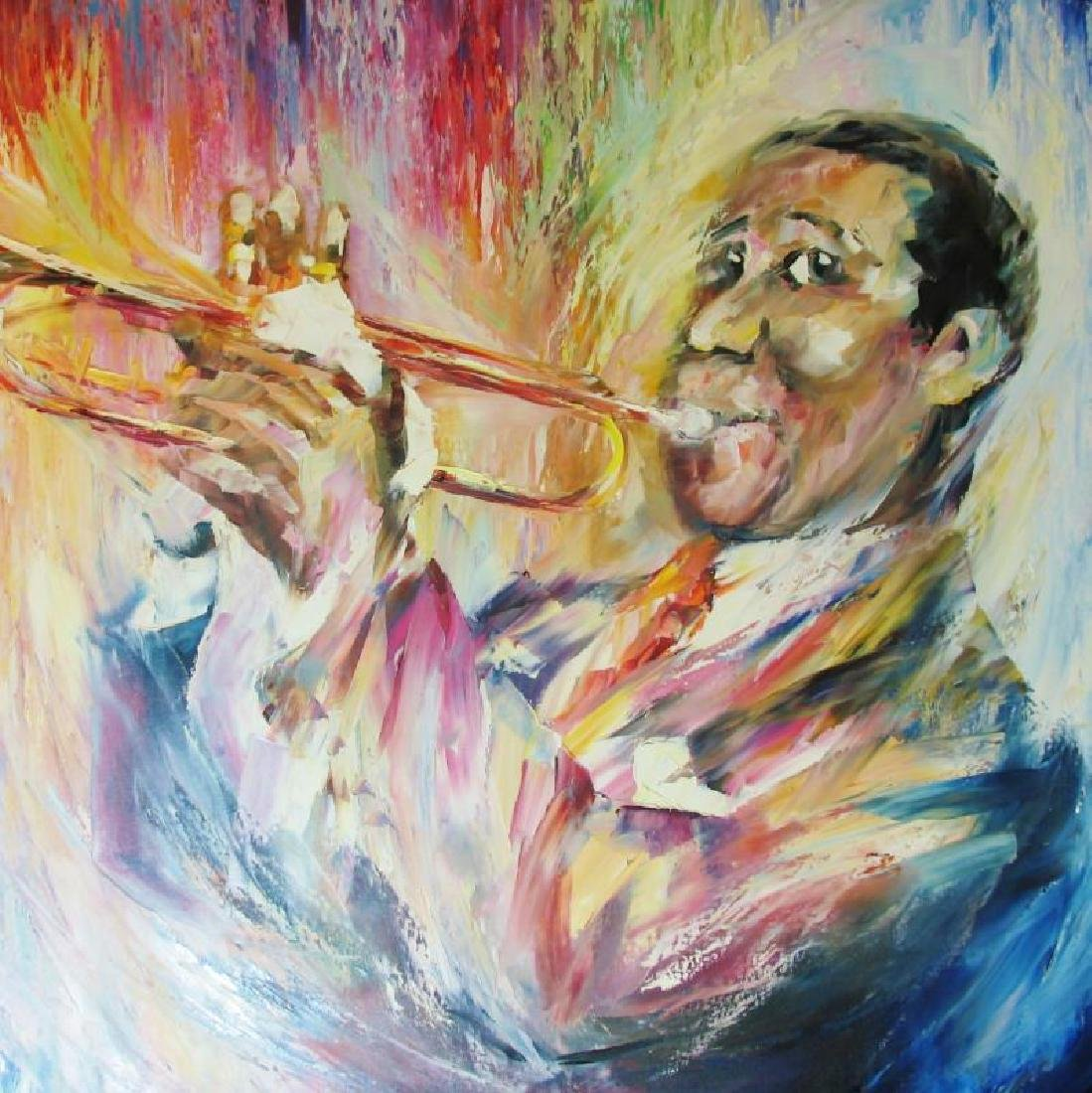 Louis Armstrong 30X40 Original Painting Canvas Sale - 4