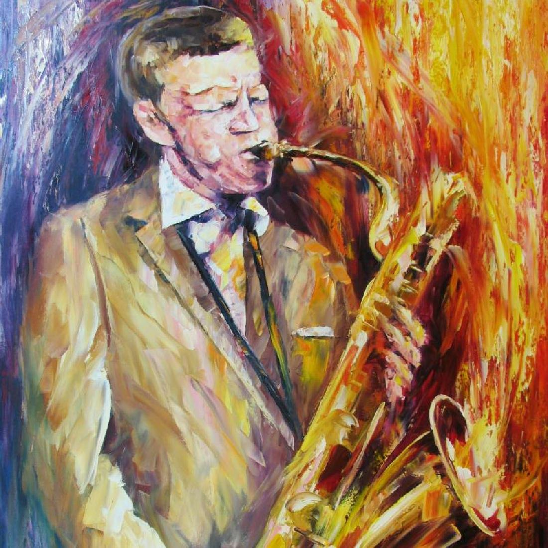 Jfk John Kennedy Blows Horn Original Painting - 4