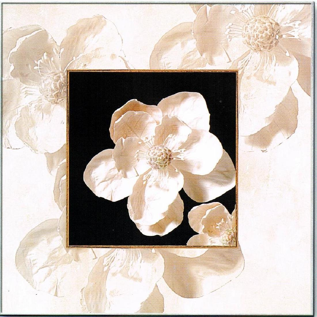 White Floral On Canvas Giclee Great Value! - 2