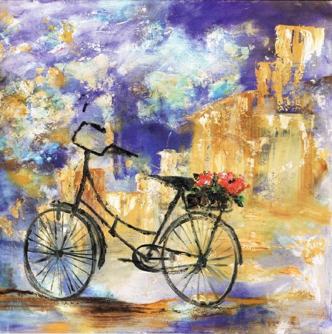 Roses With Bike Colorful Impressionism Giclee Sale - 2