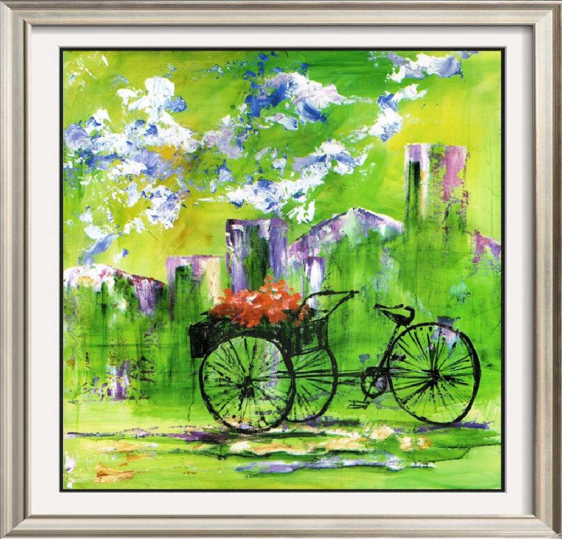 Flower Bike Cart Colorful Giclee Canvas Liquidation