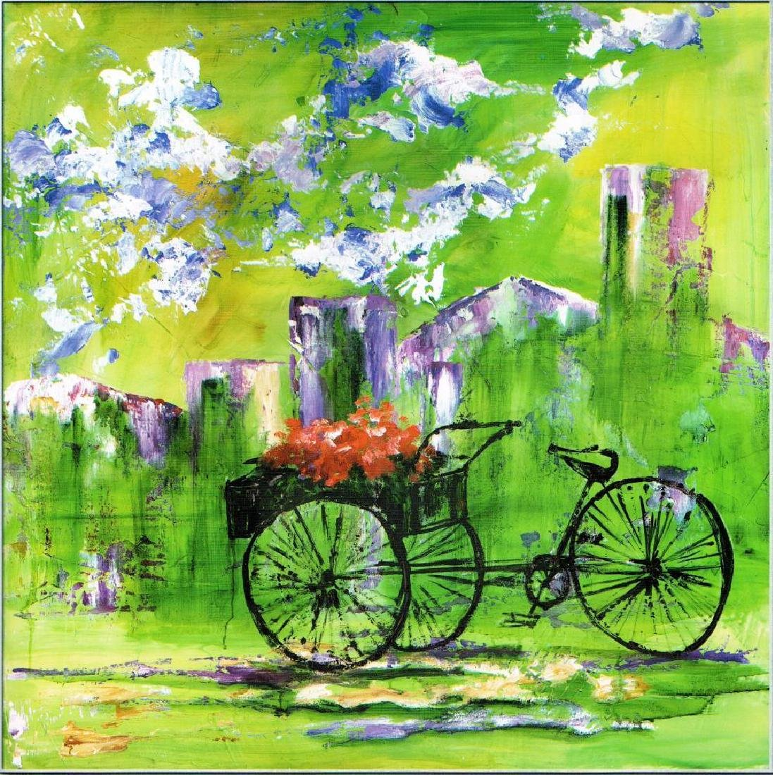 Flower Bike Cart Colorful Giclee Canvas Liquidation - 2