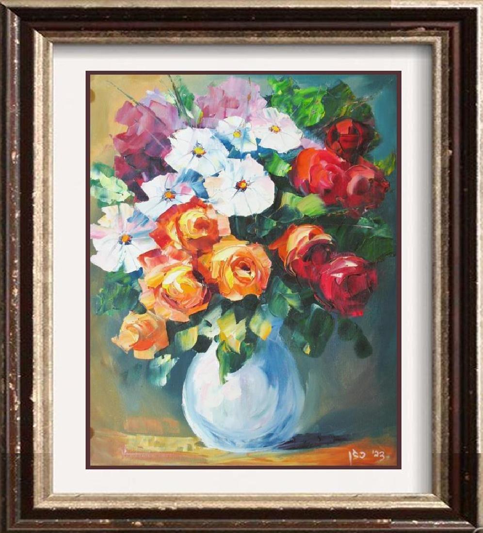 Colorful Palette Knife Textured Floral Origina Canvas