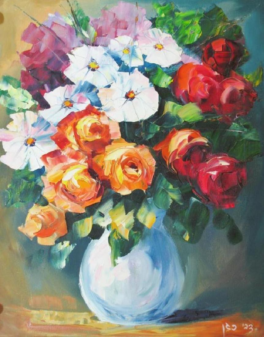 Colorful Palette Knife Textured Floral Origina Canvas - 2