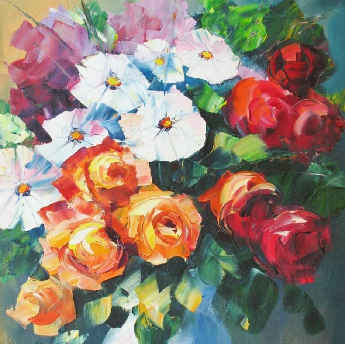 Colorful Palette Knife Textured Floral Origina Canvas - 3