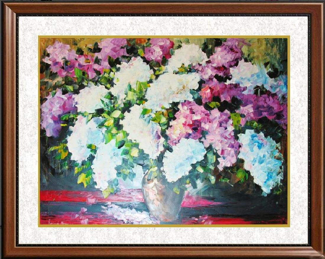 Violet White Textured Flowers Palette Knife Painting