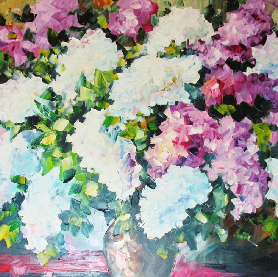 Violet White Textured Flowers Palette Knife Painting - 3