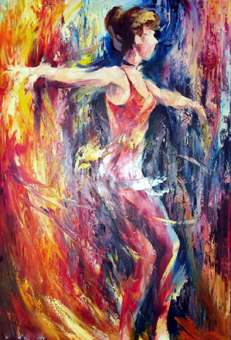 Ribbon Dancer Abstract Original Painting Canvas - 2