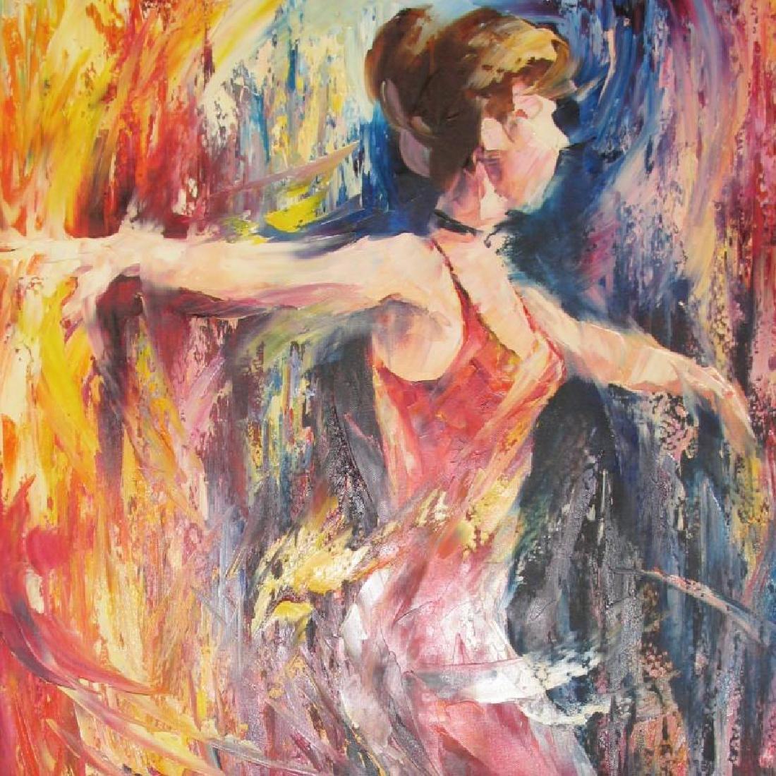Ribbon Dancer Abstract Original Painting Canvas - 3