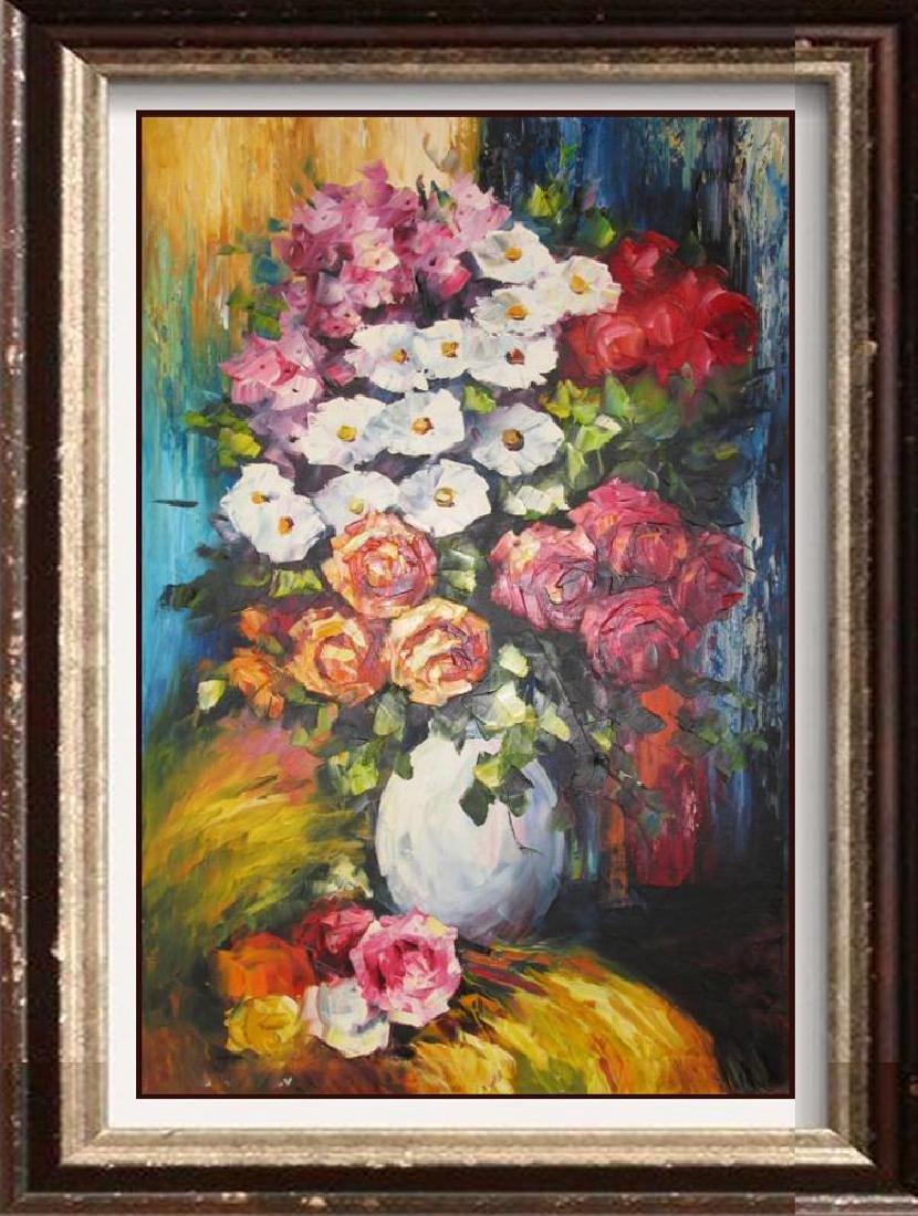 Colorful Floral Vase Textures Bold Original Canvas