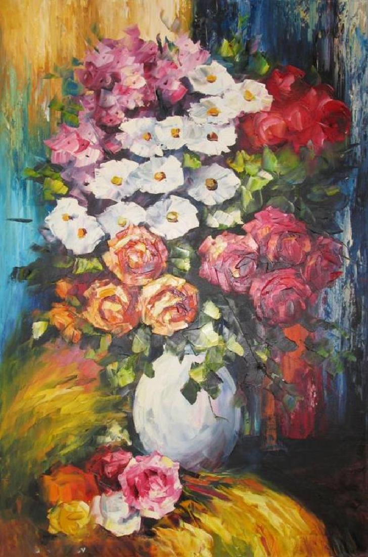 Colorful Floral Vase Textures Bold Original Canvas - 2
