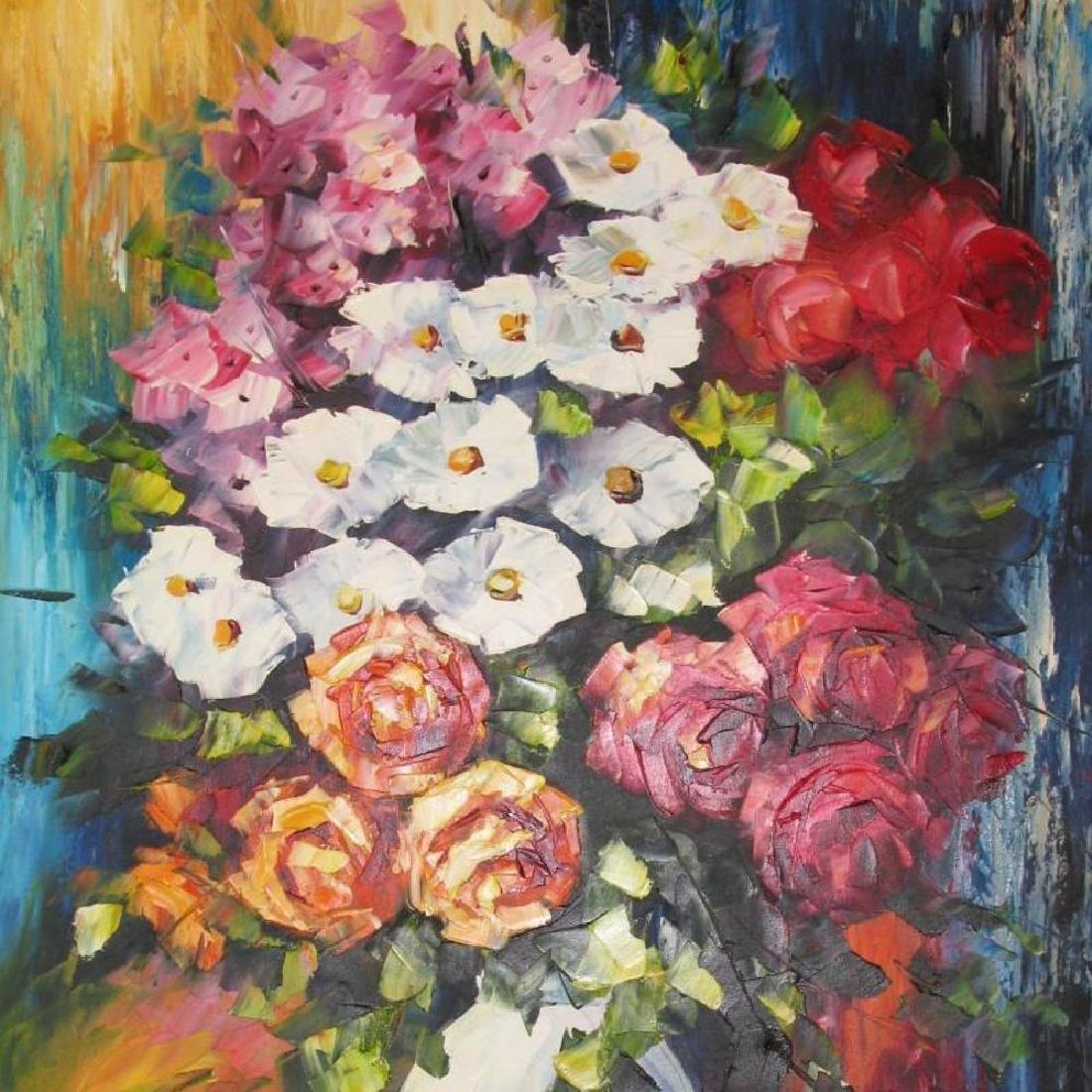 Colorful Floral Vase Textures Bold Original Canvas - 3