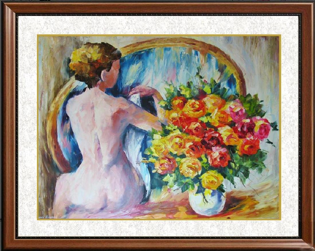 Nude With Floral Original Canvas Painting