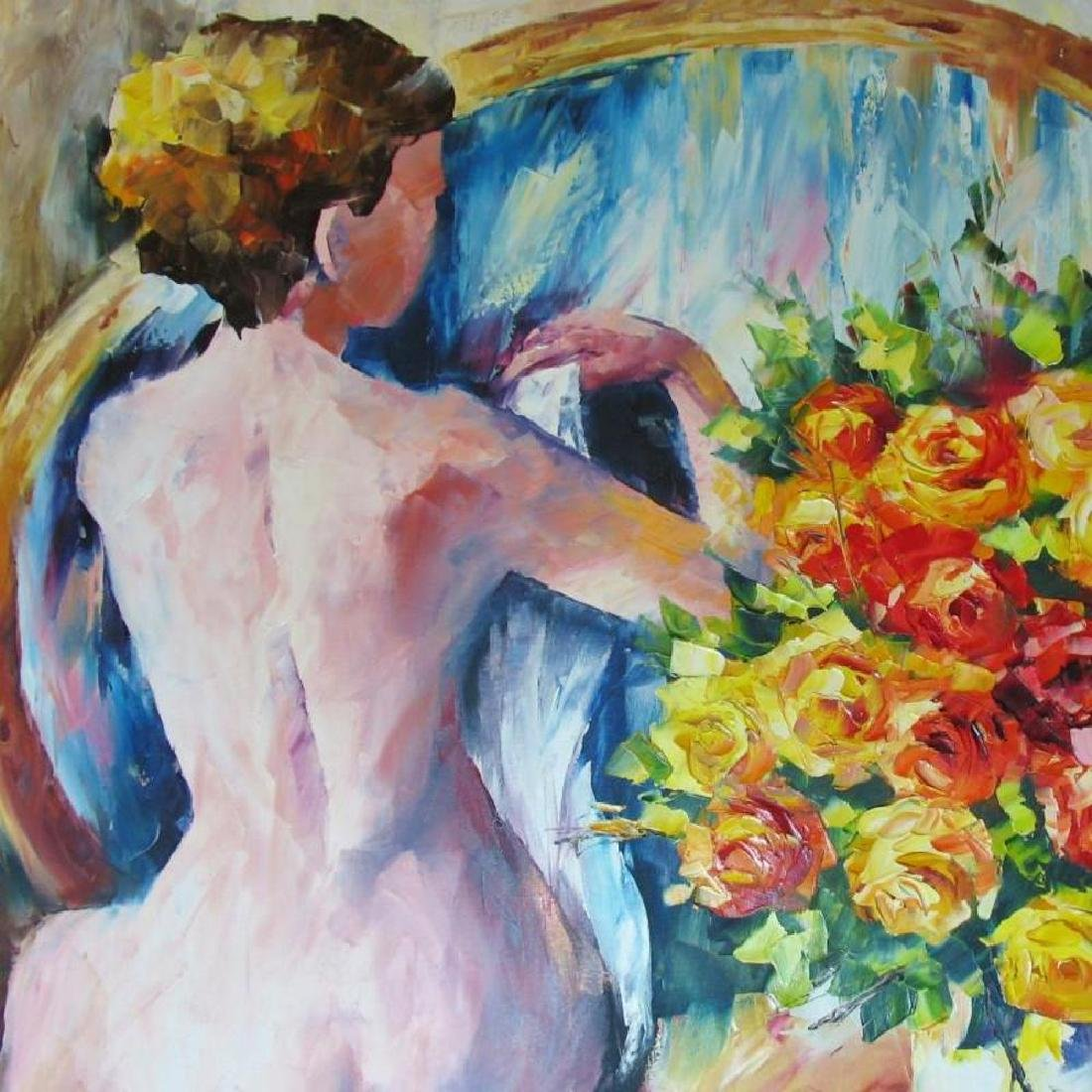 Nude With Floral Original Canvas Painting - 4