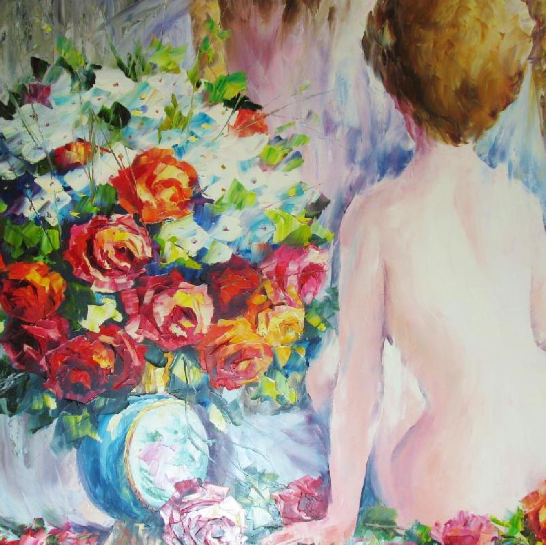 Nude With Floral Original Canvas Painting - 2