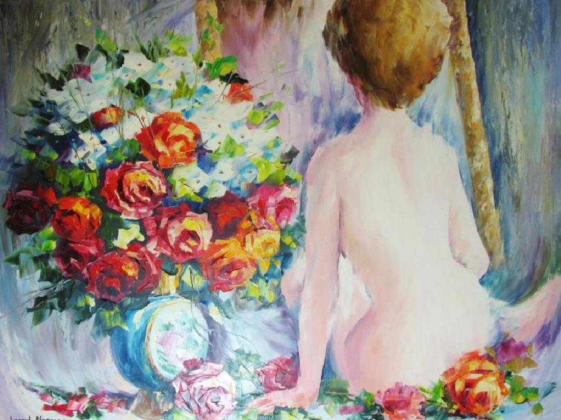 Nude With Floral Original Canvas Painting - 3