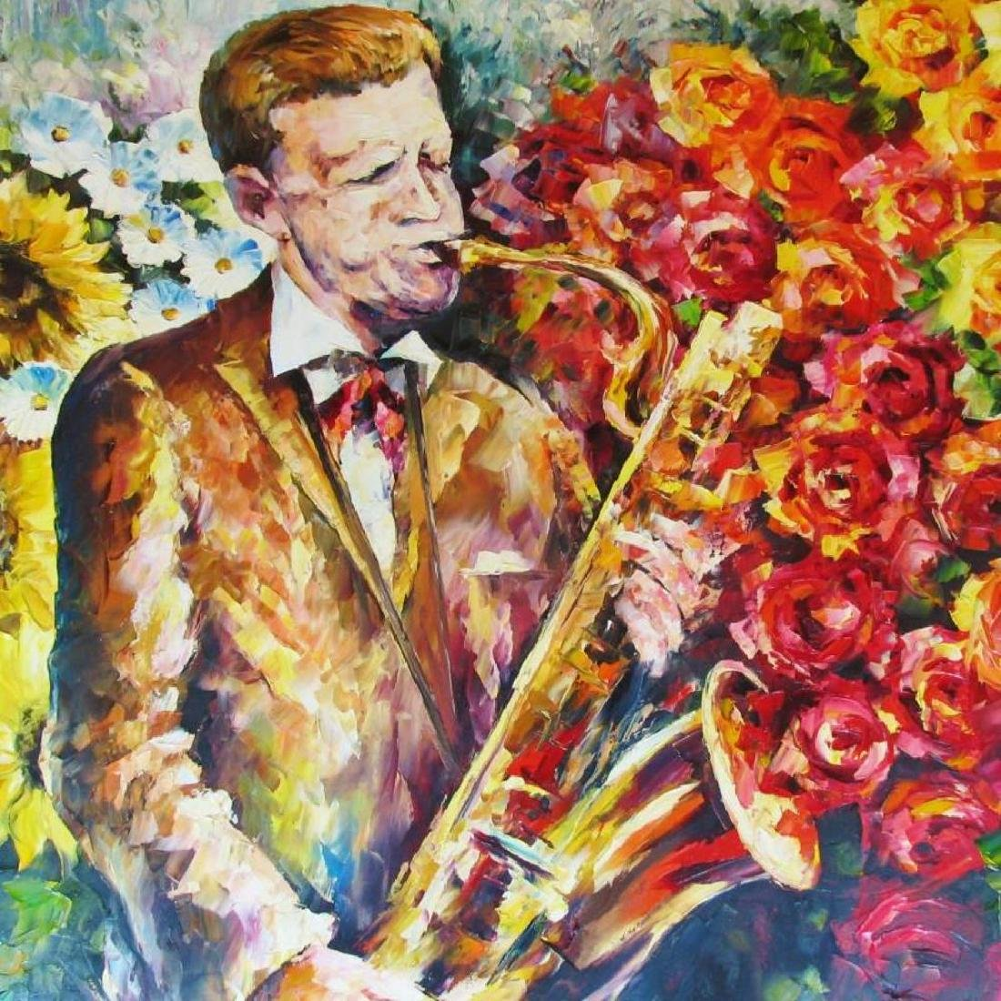 Sax & Floral Bold Colorful Jazz Original Painting - 3