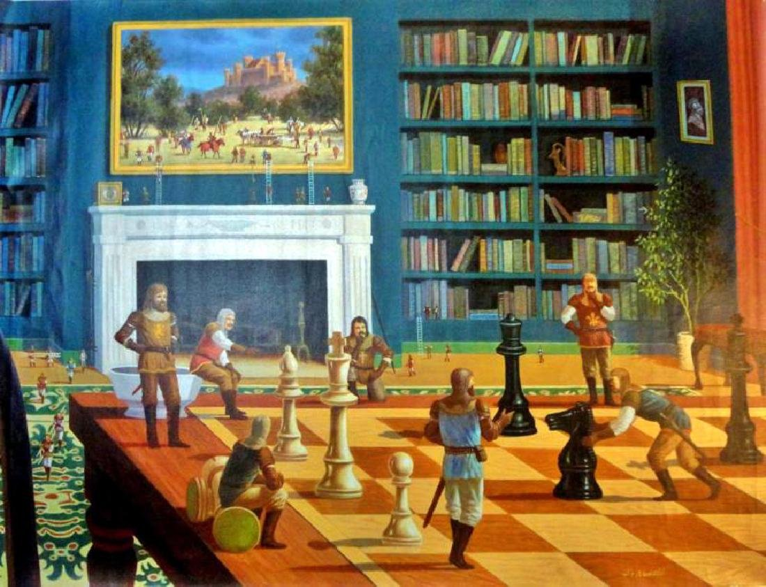 Chess Knights Surreal Large Giclee Signed 30x40 on - 2