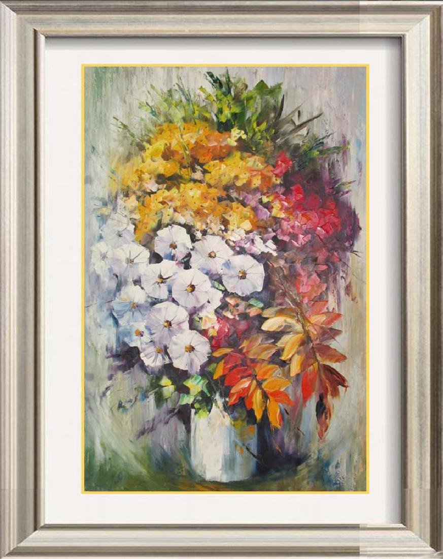 Tall Colorful Vase W/Flowers Original Painting