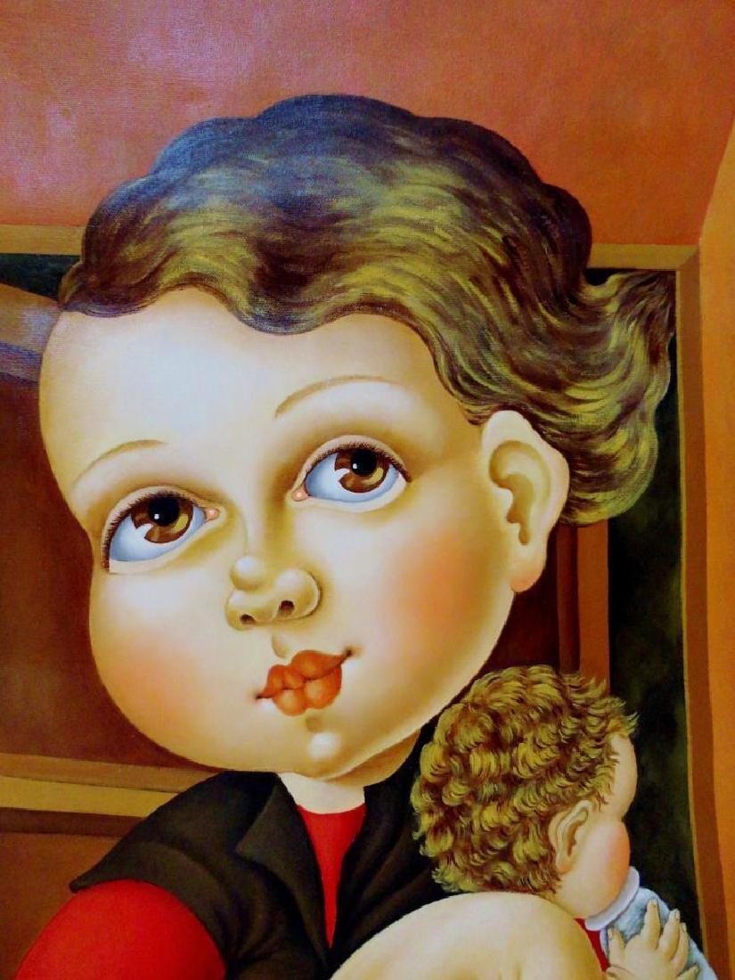 Huge Italian Artist Painting 68x58 Fantastic Pop Canvas - 10