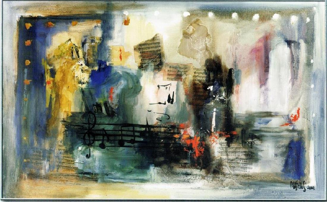 LARGE 47x78 Canvas Giclee Violin Abstract Modern Art - 2