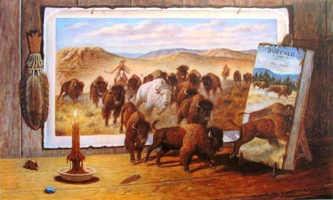 Buffalo Signed Ltd Ed Fantastic Realistic Wild West