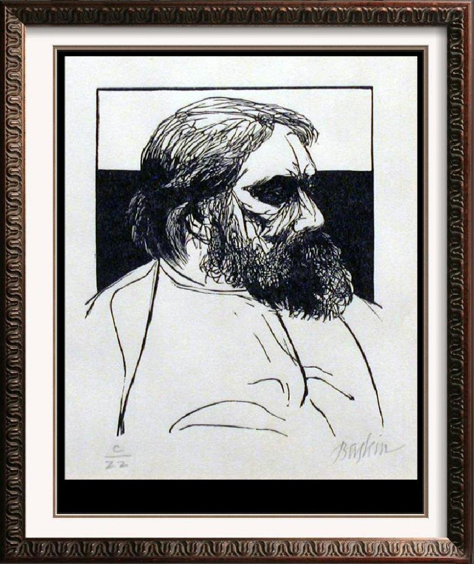 Museum Artist Leonard Baskin Limited Edition Woodblock