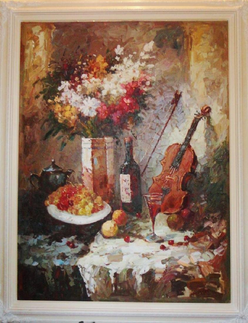 Large Textured Abstract Violin Red Wine Impressionistic