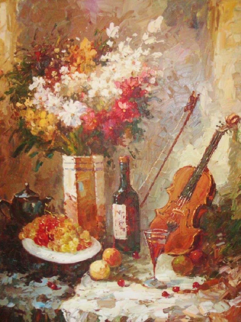 Large Textured Abstract Violin Red Wine Impressionistic - 2