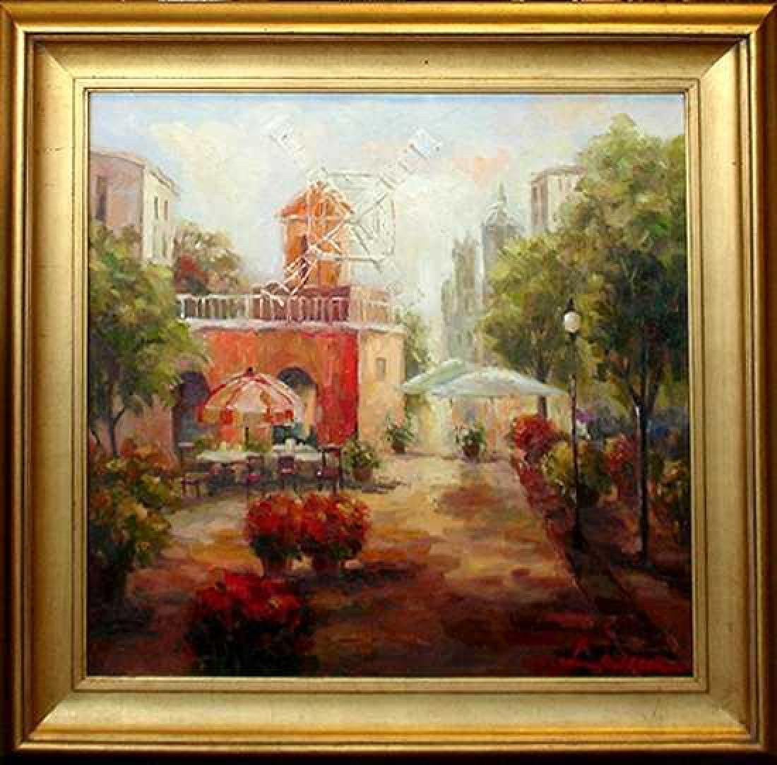 Windmill Traditional Colorful Painting Canvas Framed