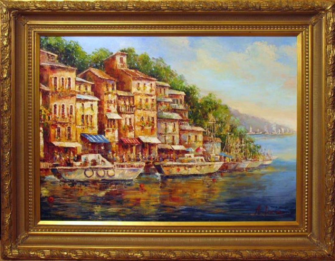 Water Landscape Impressionism FRAMED HUGE Painting