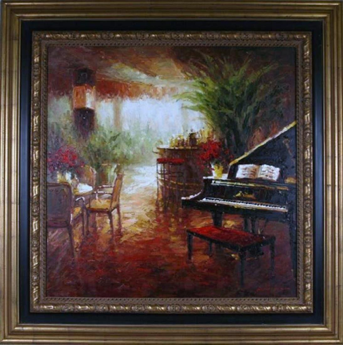 Piano Café Scene RED Vibrant Colorful Impressionism