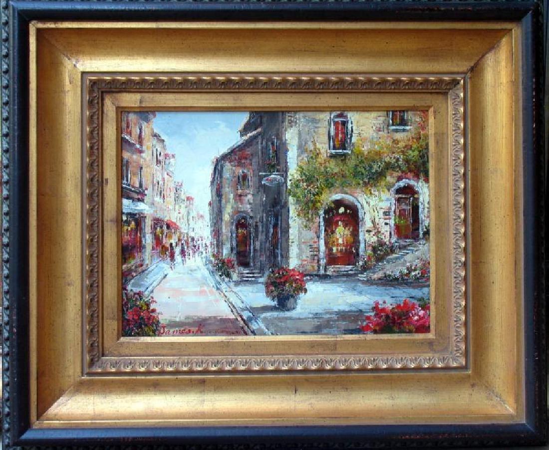 Colorful St Scene Framed Painting Art For Sale