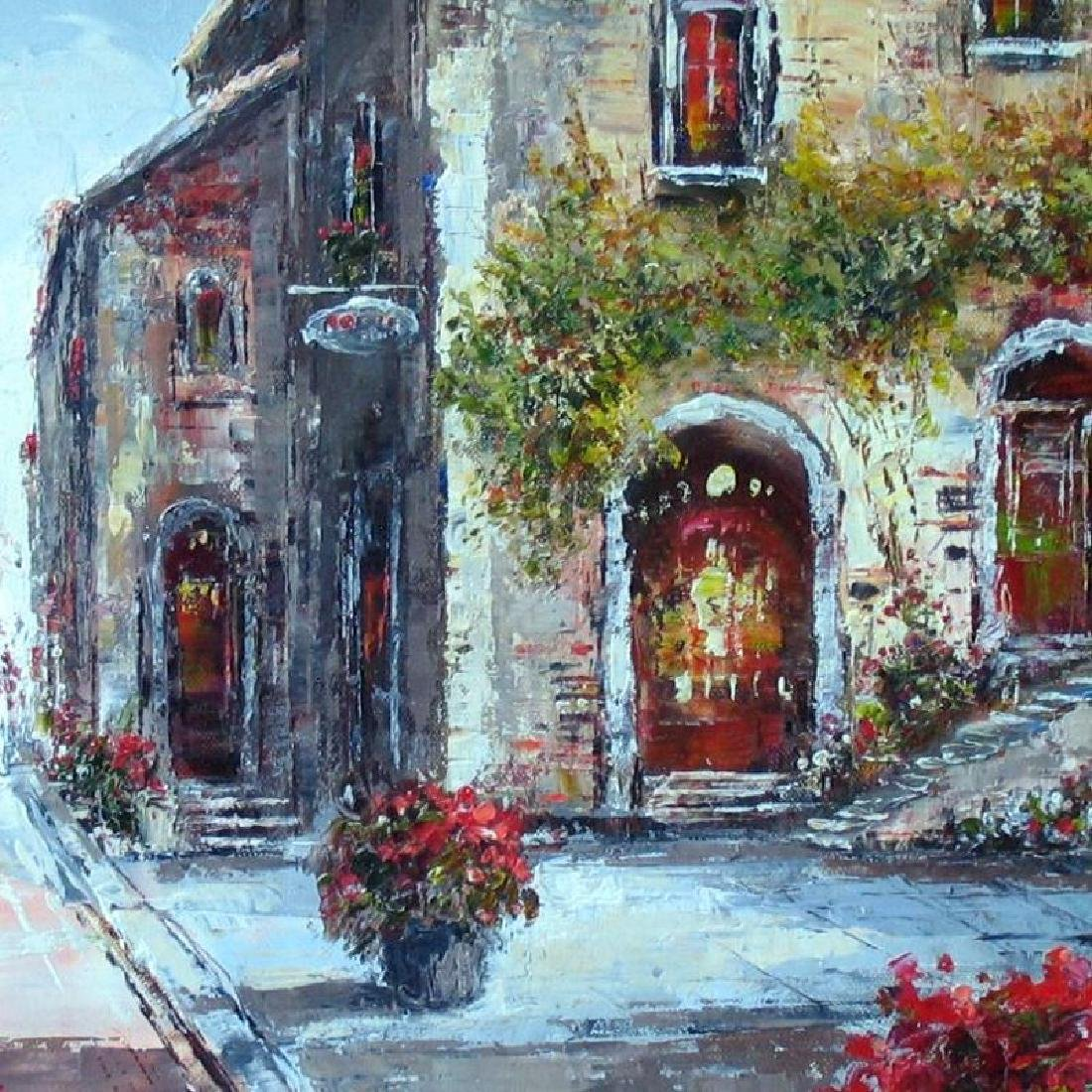 Colorful St Scene Framed Painting Art For Sale - 2