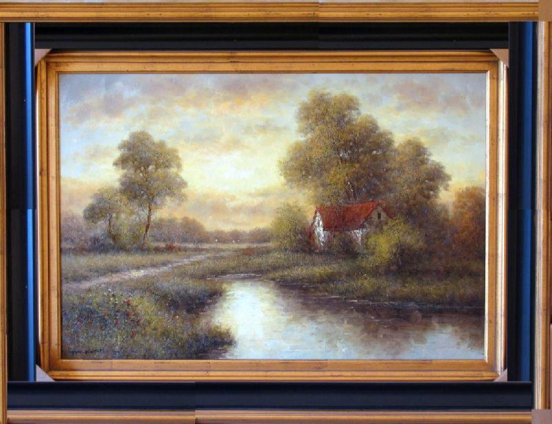 Traditional Village Texture Landscape Framed Acrylic