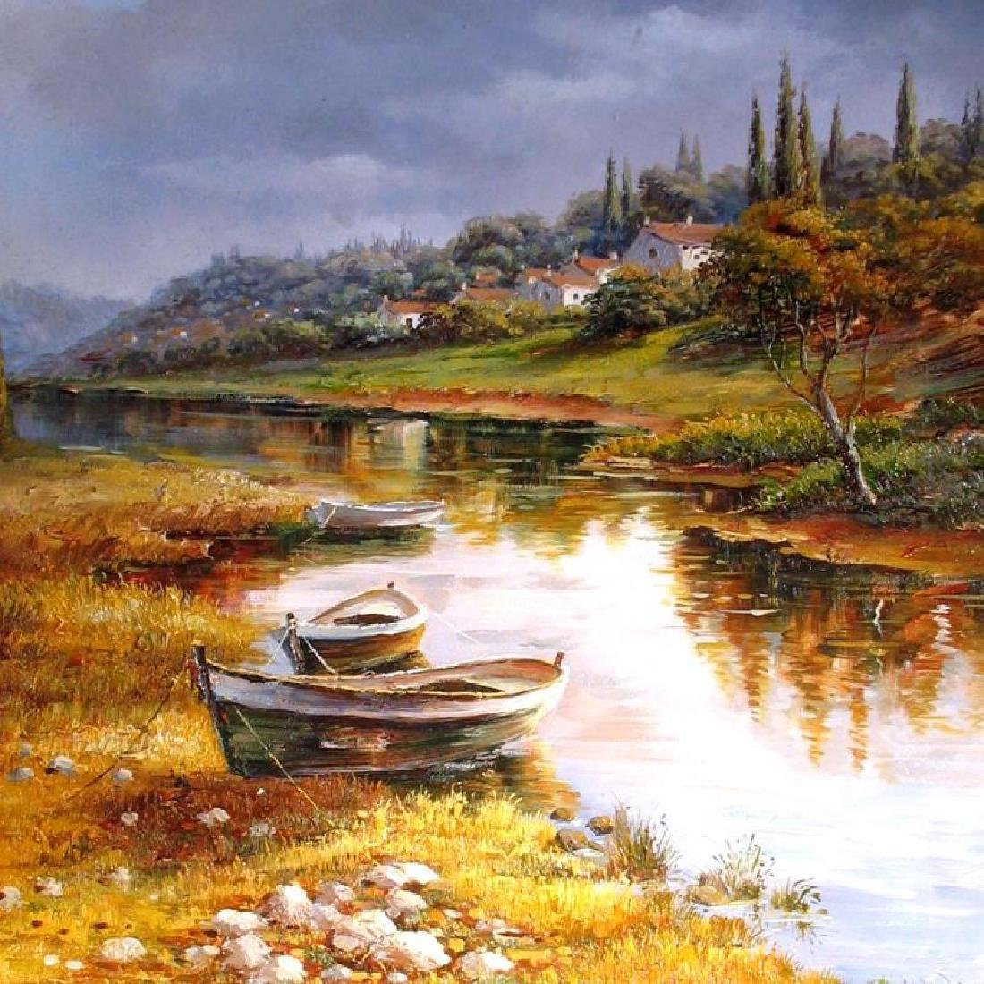 Water Boat Scene Detailed SIGNED Painting Canvas - 2