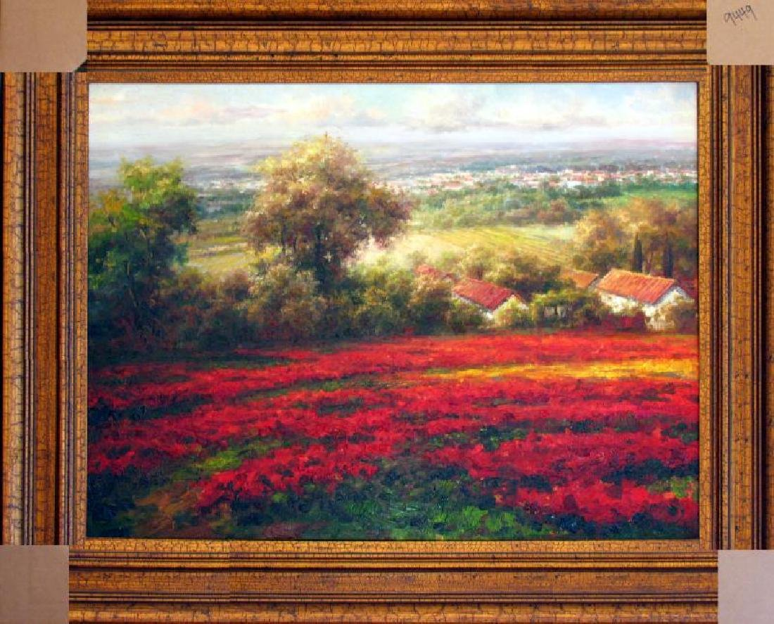 Poppy Fields Colorful Textured Original Frame Painting