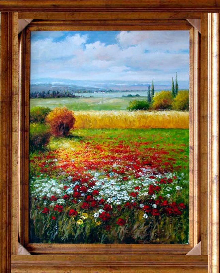 Framed Colorful Italian Vineyard Landscape Framed