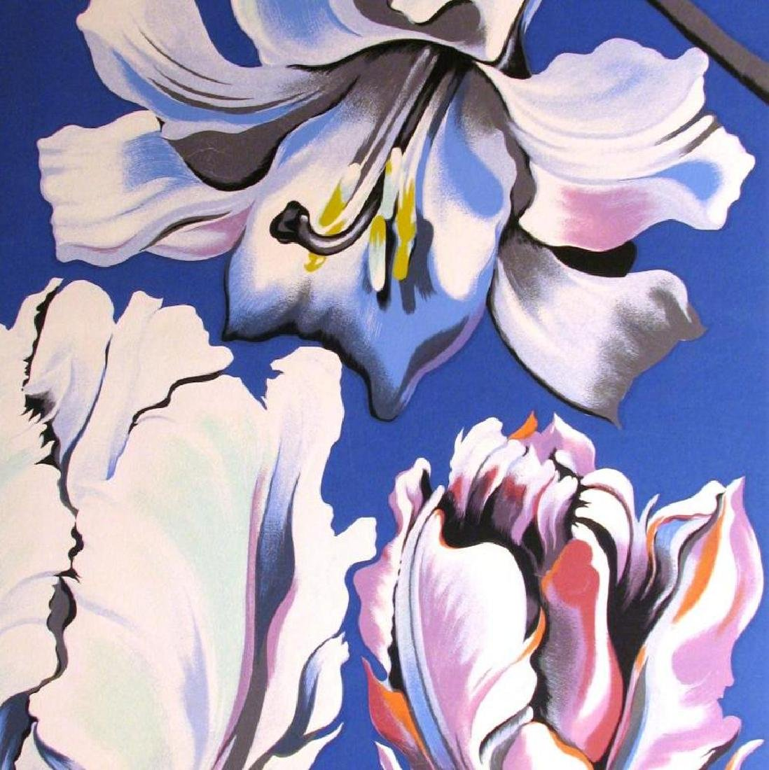 Nesbitt 3 Tulips On Blue Signed Ltd Ed Serigraph - 3