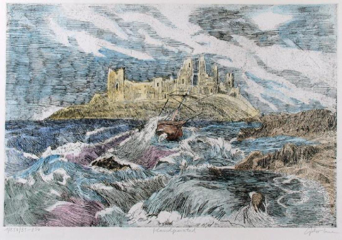 Hand Signed Colored Etching Ocean Scenic Detailed - 2