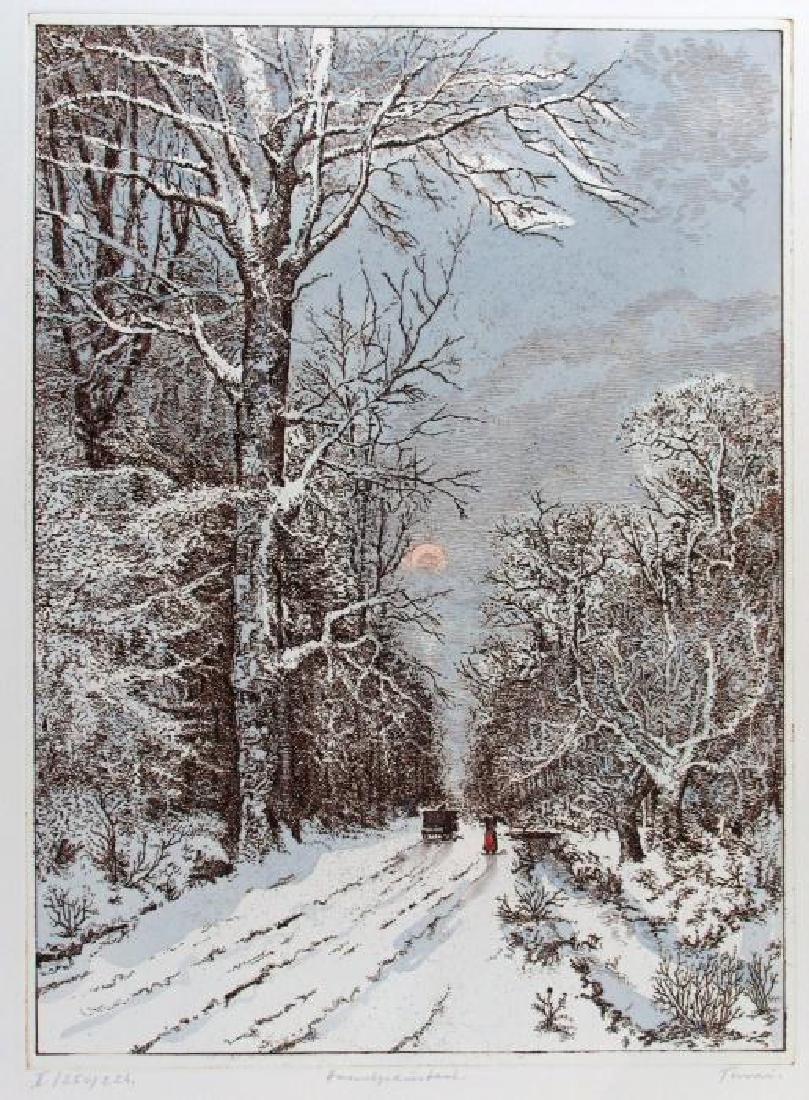 Winter Scene Original Etching Colored Ltd Ed Rare - 2