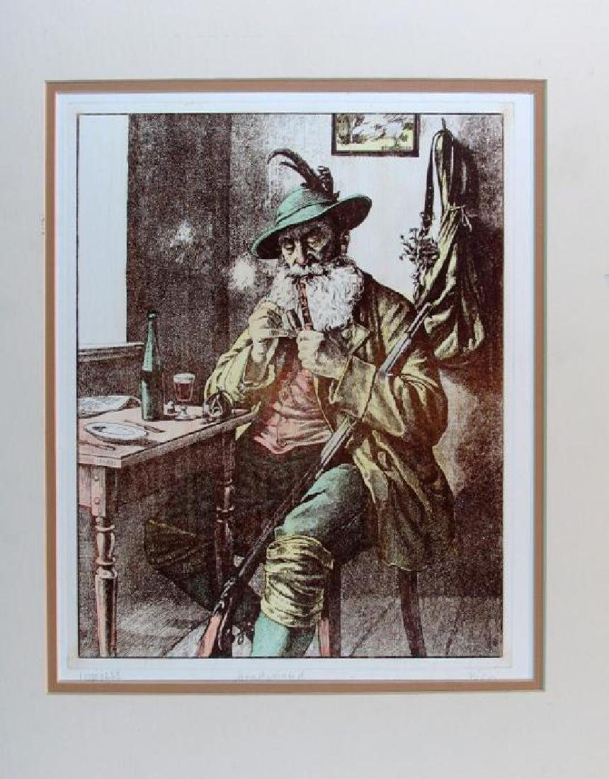 Hunting Colored Etching Signed Rare Dealer Sale - 2