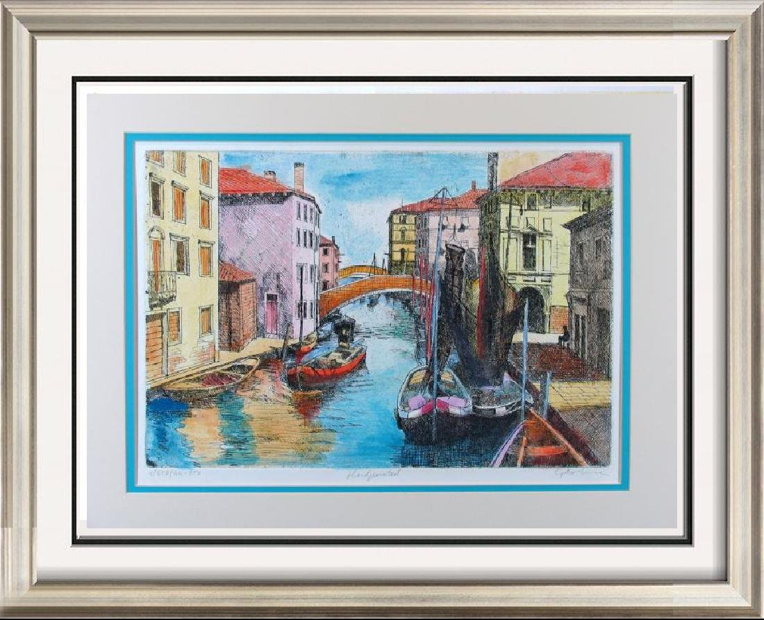 Beautiful Colorful Etching Signed Limited Ed Venice