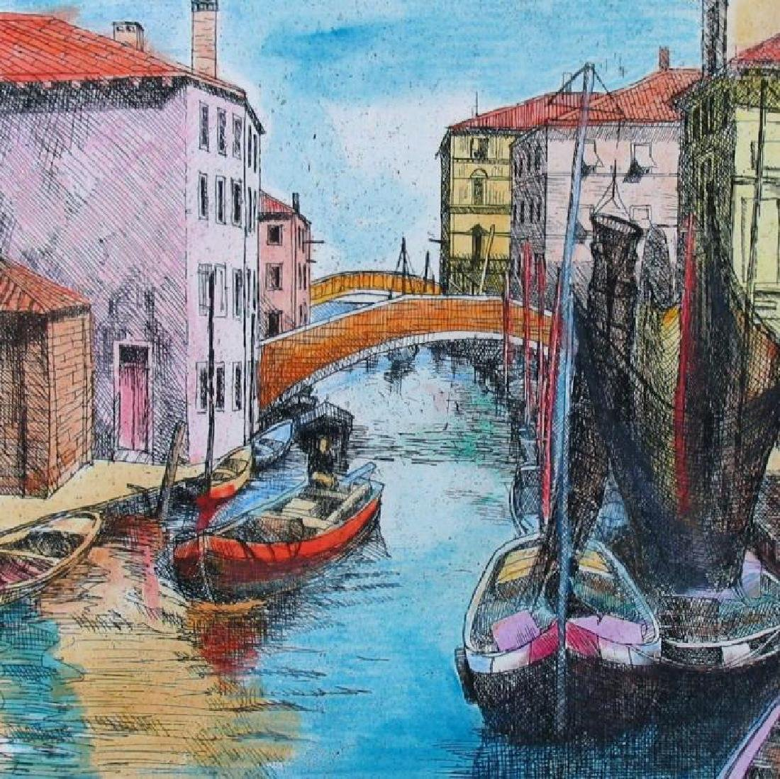 Beautiful Colorful Etching Signed Limited Ed Venice - 3
